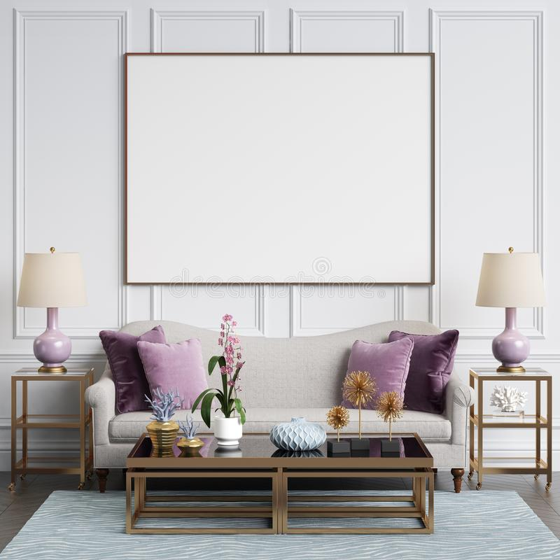 Download Classic Interior In Pastel Colors With Blank Frame On The Wall Stock Illustration - Illustration of lamp, architecture: 112011520