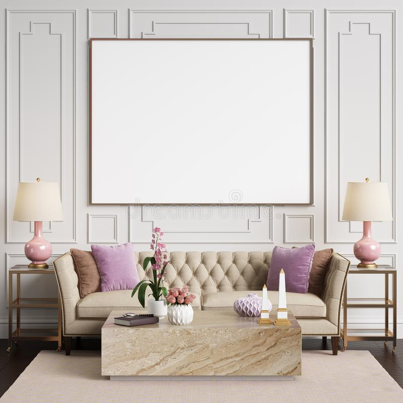 Download Classic Interior In Pastel Colors With Blank Frame On The Wall Stock Illustration - Illustration of lounge, copy: 112011576