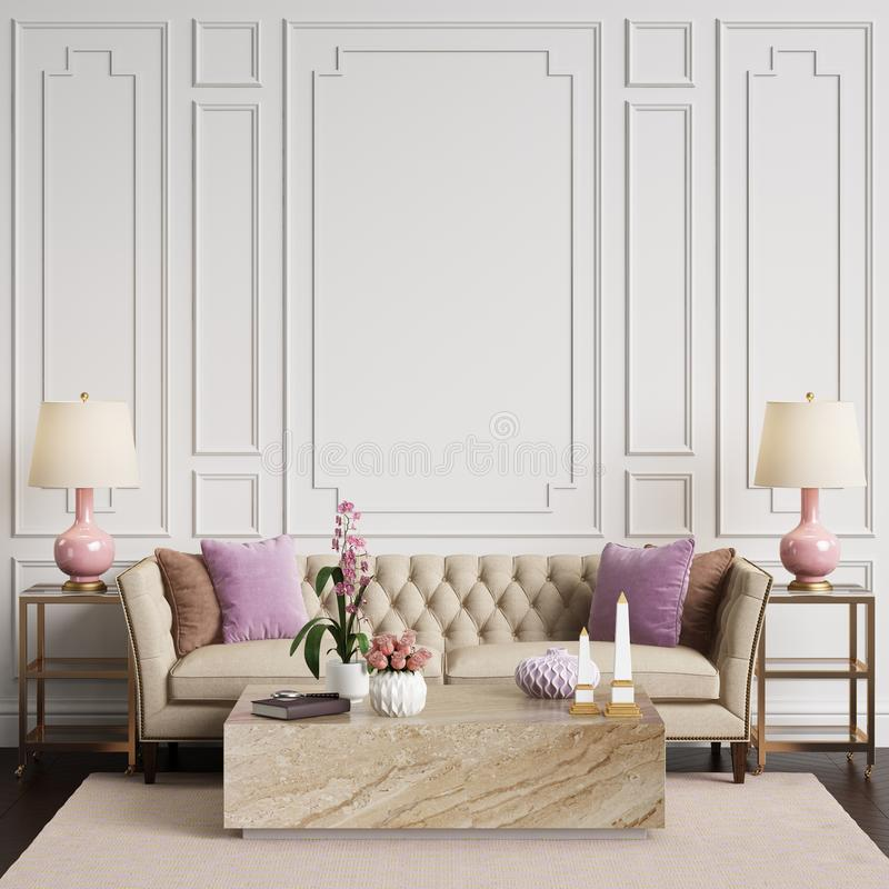 Download Classic Interior In Pastel Colors With Copy Space Stock Illustration - Illustration of mockup, house: 112011594