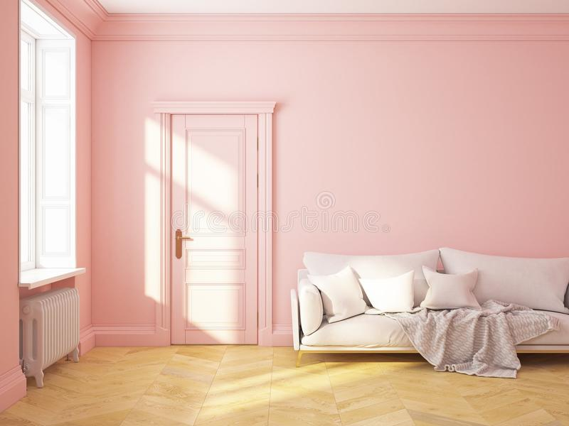 Classic Interior Pink Roze Quartz Sofa Stock Illustration ...