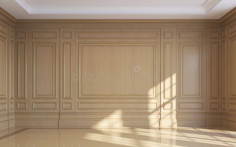 a classic interior with wood paneling 3d rendering stock