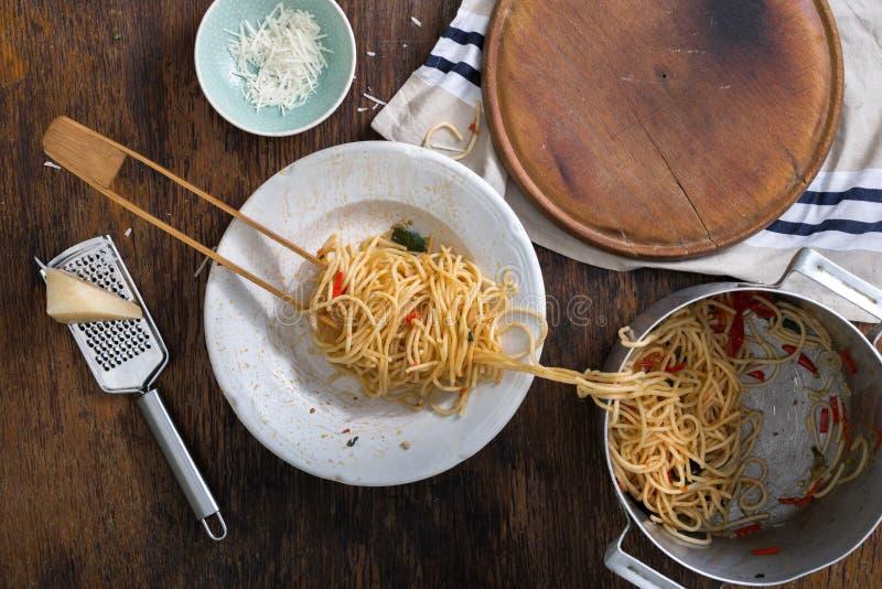 Classic Italian pasta on a wooden table stock photo