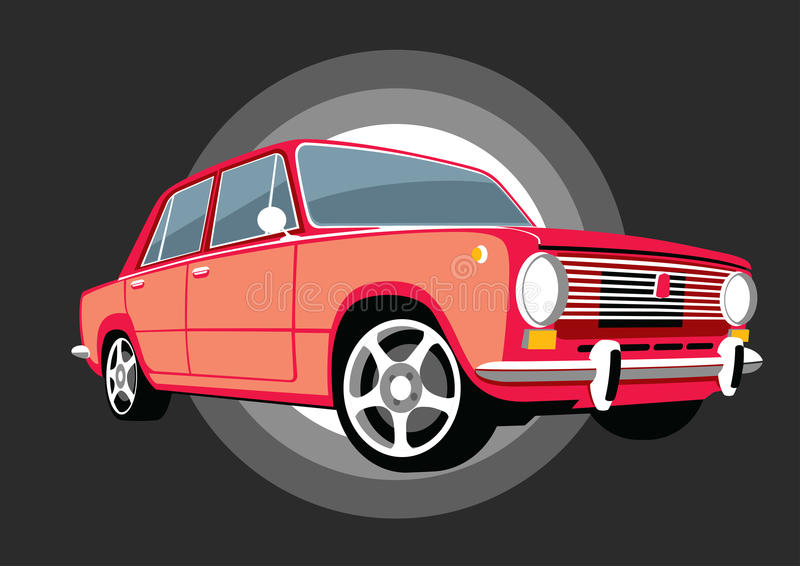 Classic Italy soviet USSR car with alloy wheels vector illustration