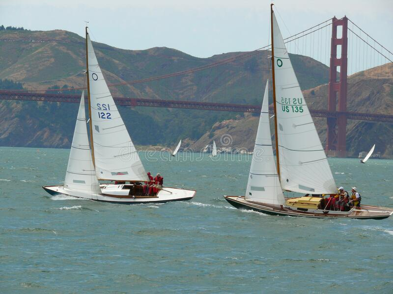 Classic J boat competition with Golden Gate stock photo