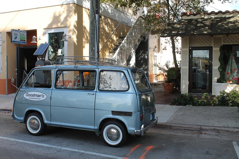 Classic old tiny Subaru minivan. Classic Japanese Kay car. Subaru Sambar micro van outdoors parked under the shade of trees. Coral Gables, Florida stock photography
