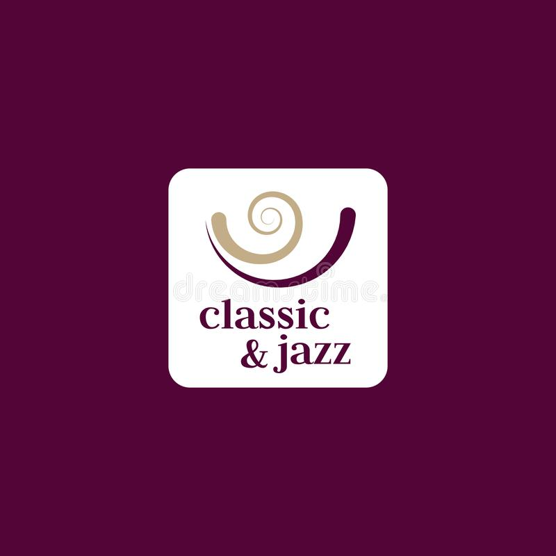 Classic and jazz music vector logo. Jazz emblem. Classic music sign. Music festival poster element. Classic and jazz music vector logo. Jazz emblem. Classic royalty free illustration