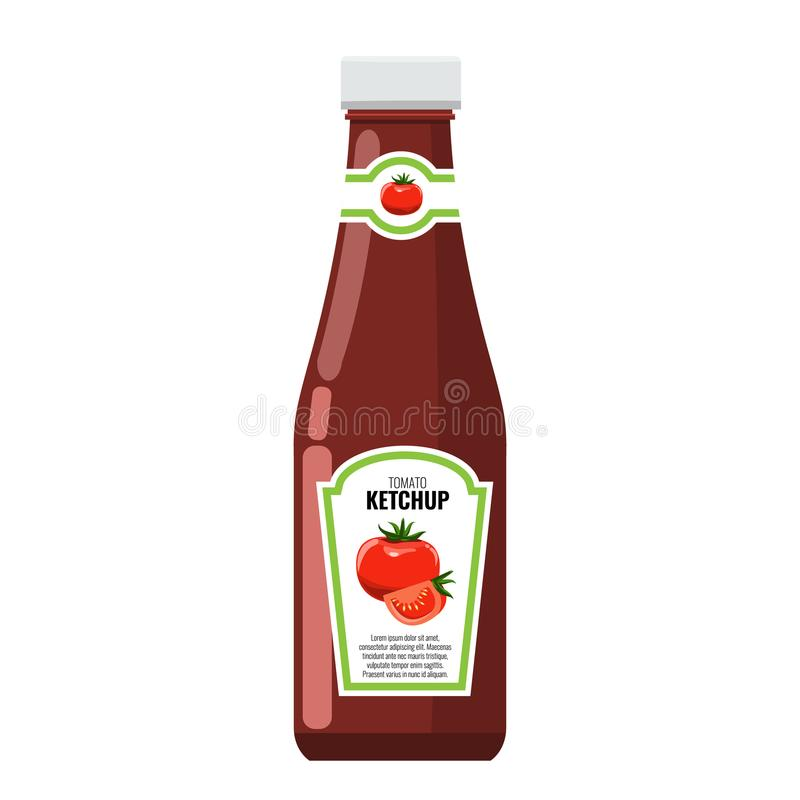 Classic ketchup glass bottle with solid and flat color style design. stock illustration