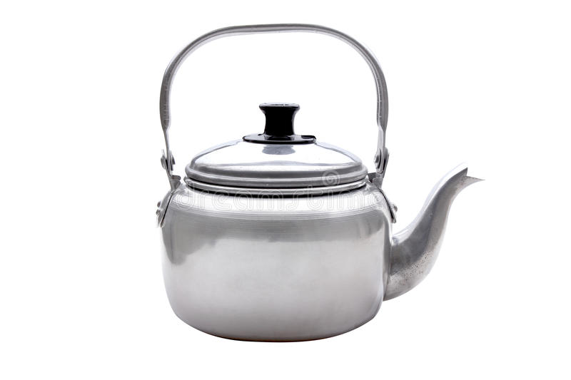 Classic kettle. Clean classic kettle isolated on white background royalty free stock photos