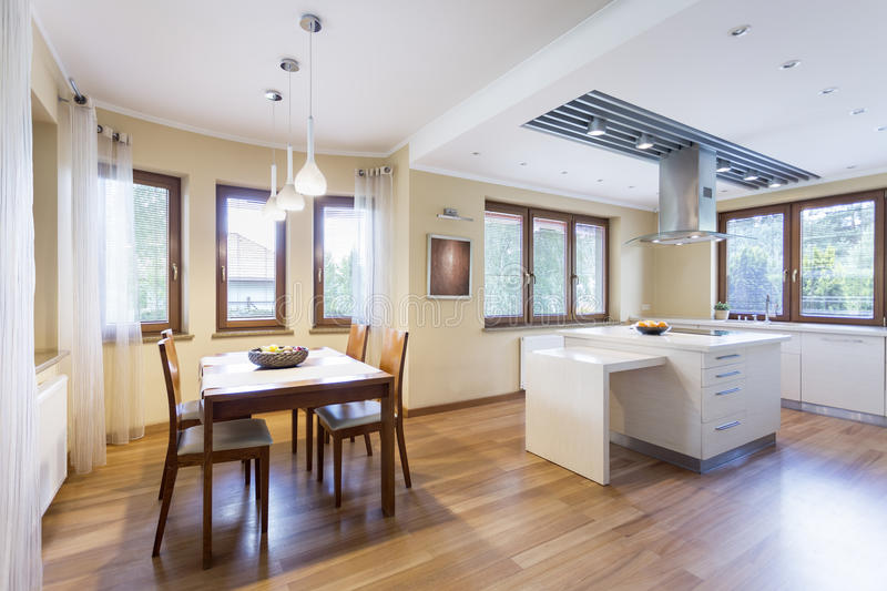 Classic kitchen and dining room. In a freshly-built house royalty free stock photo