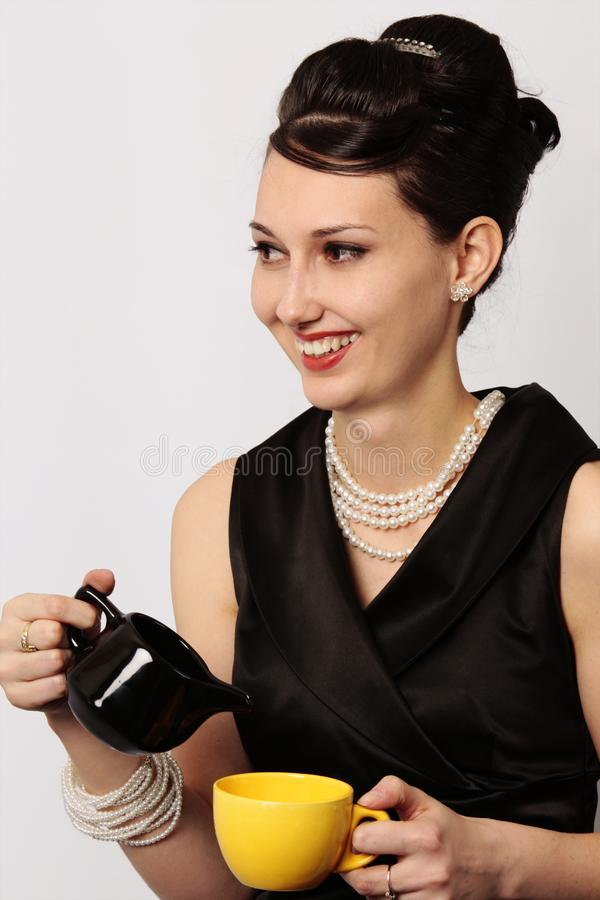 Download Classic Lady Serving Tea At Breakfast Stock Photo - Image of black, attractive: 8739014