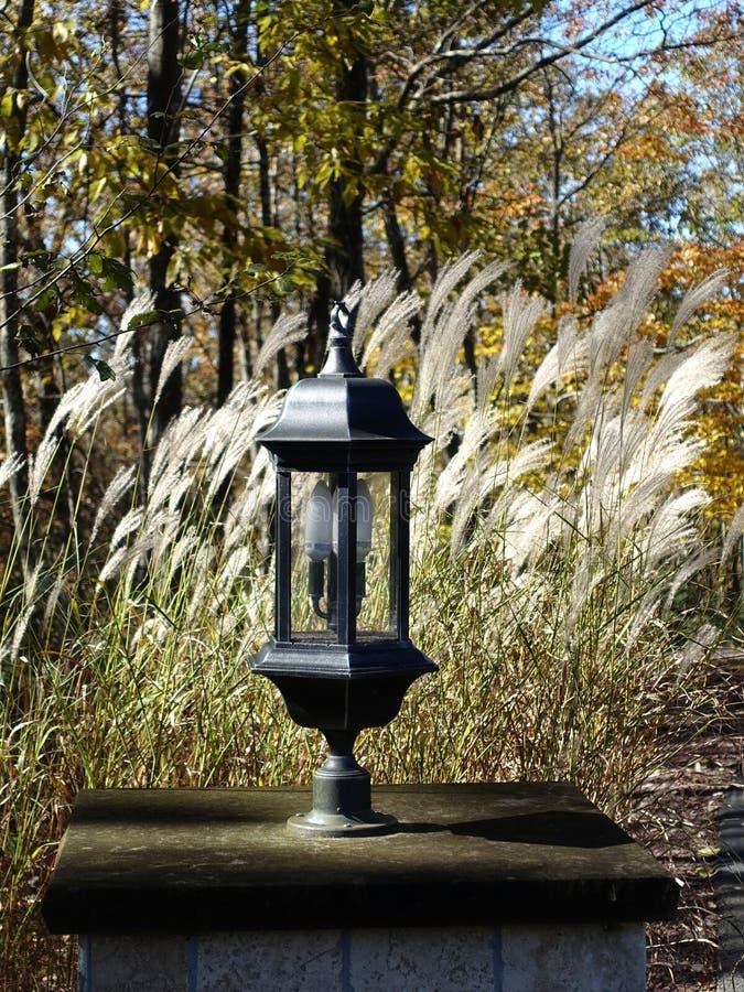 Classic Lamppost in Rural Fall Setting stock photo