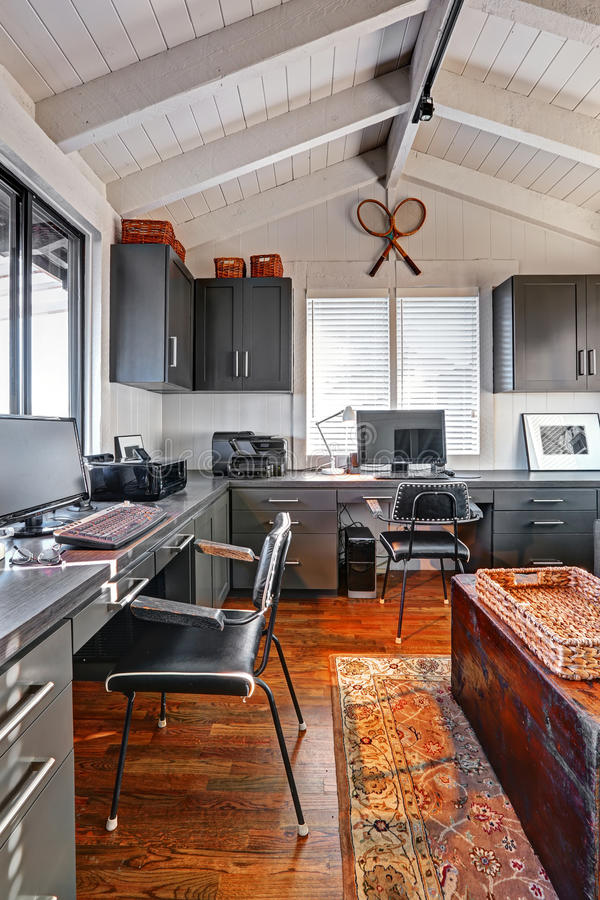 Classic Large Bright Home Office Interior With Modern And