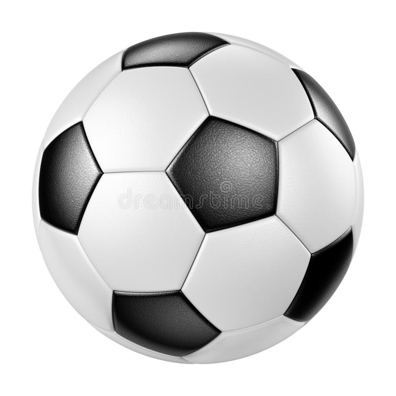 Classic leather soccer ball isolated on white background royalty free illustration
