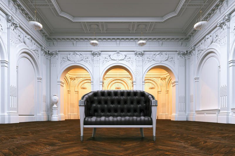 Classic leather sofa in big luxurious mansion. Perspective view. 3d render vector illustration