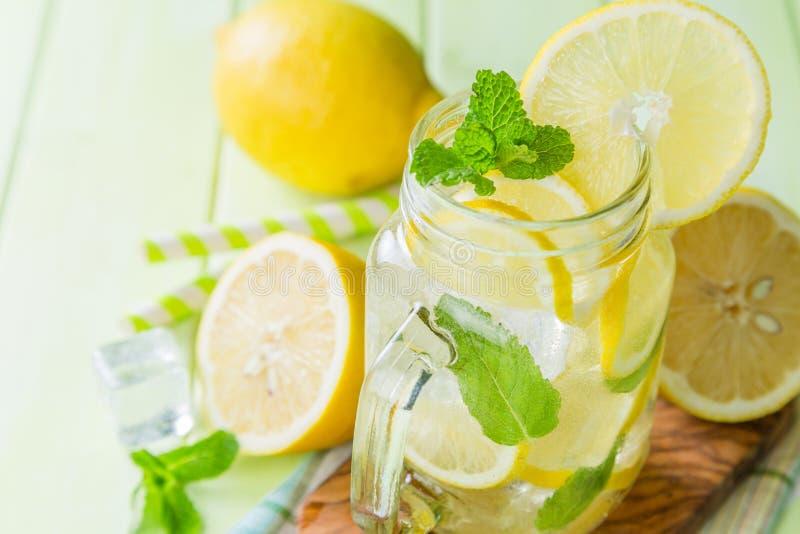 Classic lemon and mint lemonade stock image