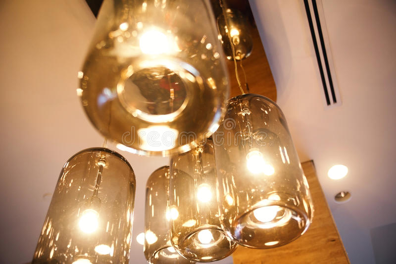 Classic light bulbs decorated in bar stock photography
