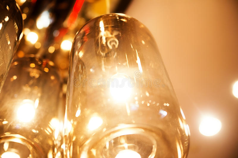 Classic light bulbs decorated in bar royalty free stock image