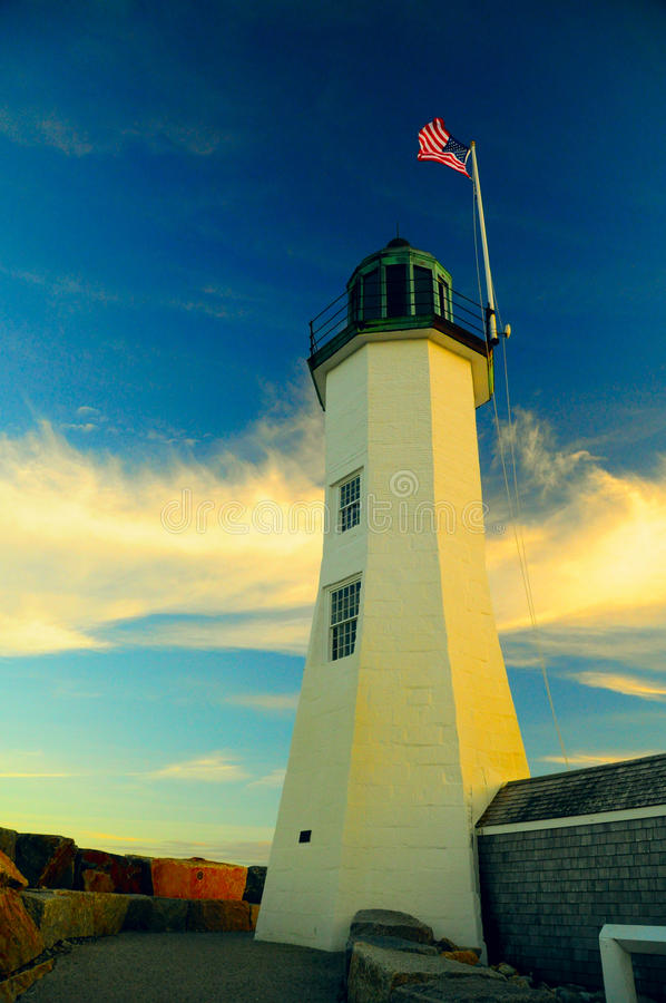 Classic lighthouse. In New England still serving people stock photos