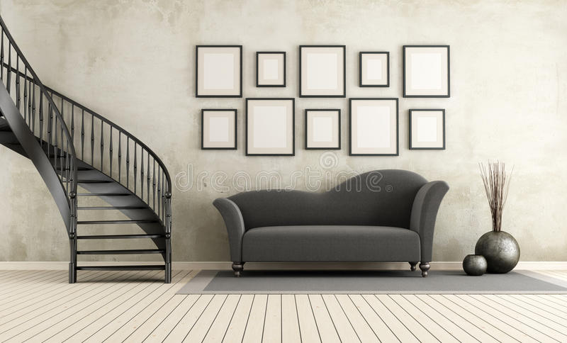 Classic living room with circular staircase. And elegant sofa - rendering vector illustration