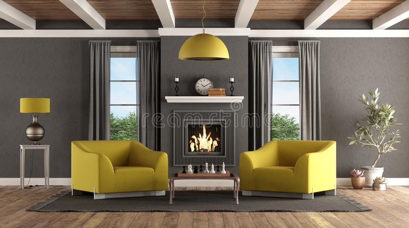 Classic living room with fireplace and modern furniture stock illustration