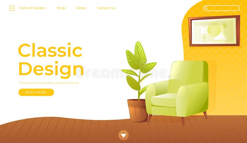 Classic living room home interior design banner. Landing Page Website conept. Comfortable armchair with a plant in a stock illustration