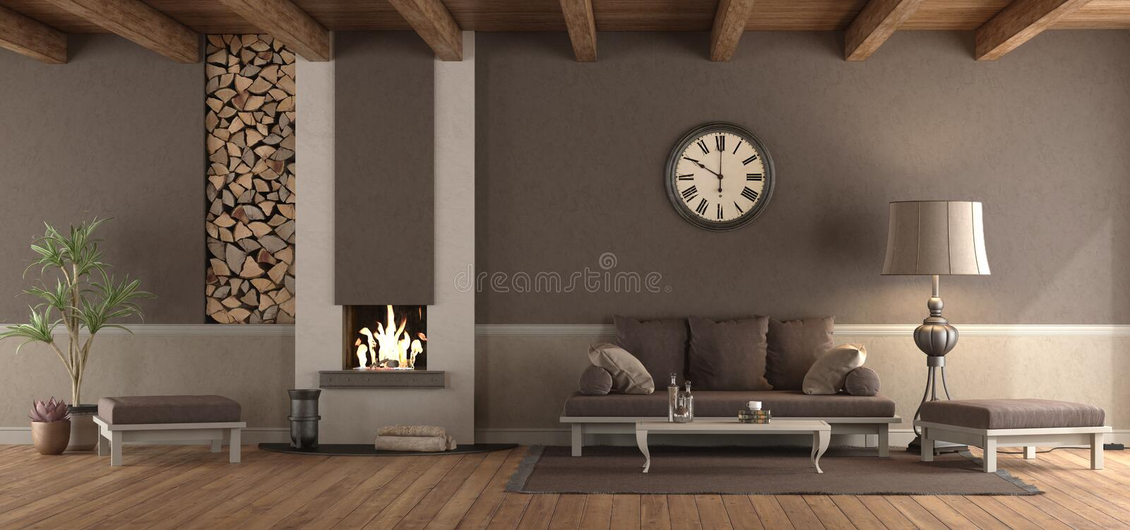 Classic living room with sofa and fireplace stock illustration