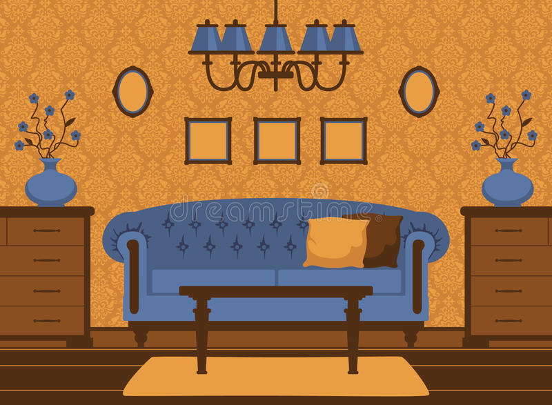 Classic livingroom interior stock illustration