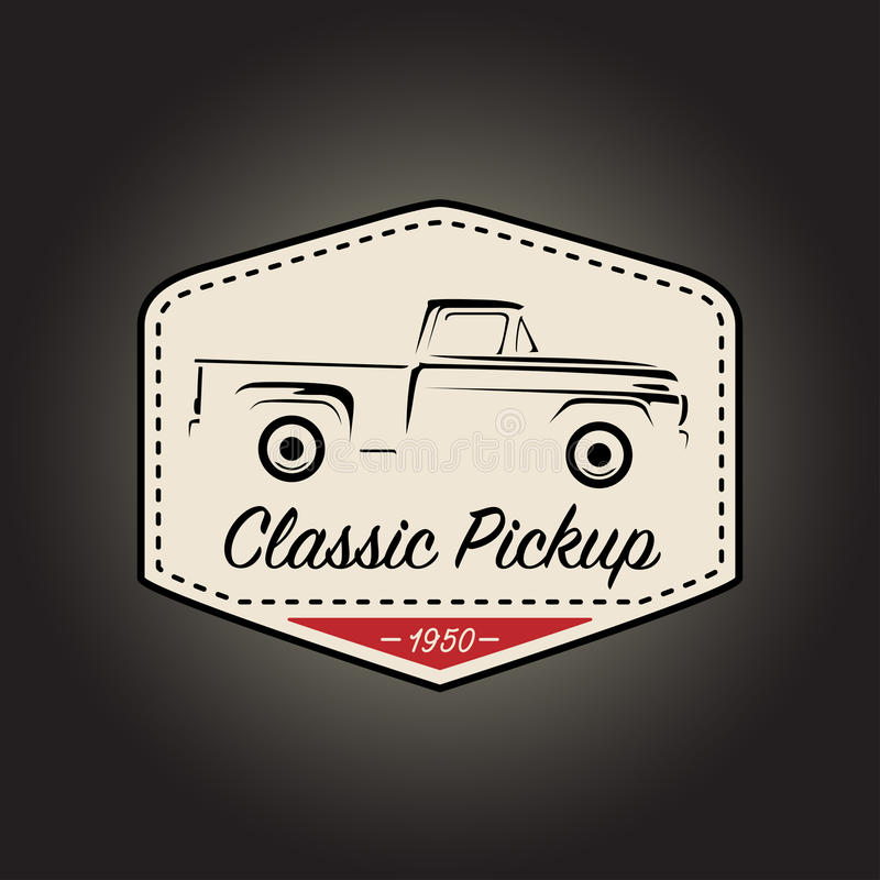 Classic logo of vintage pickup vehicle icon design. Vector illustration royalty free illustration