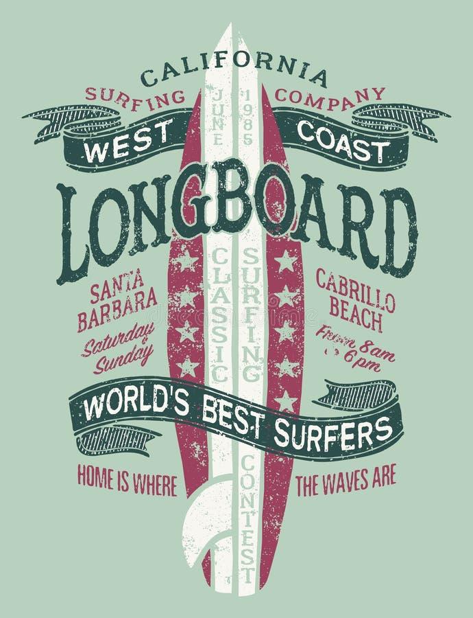Classic longboard West coast California surf contest vector illustration