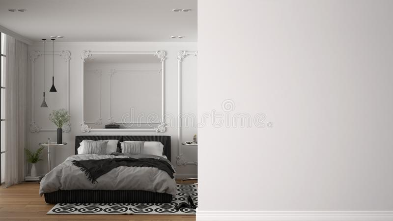 Classic luxury bedroom with double bed, mirror, bedside tables and carpet on a foreground wall, interior design architecture idea stock illustration