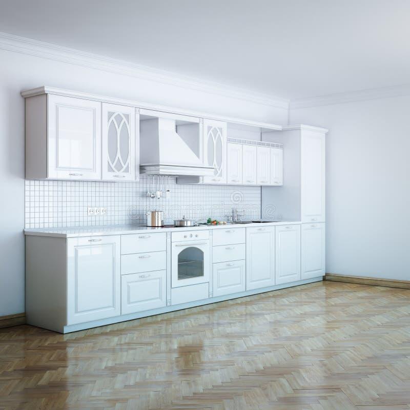 Classic Luxury White Kitchen Design With Hard Wood stock illustration