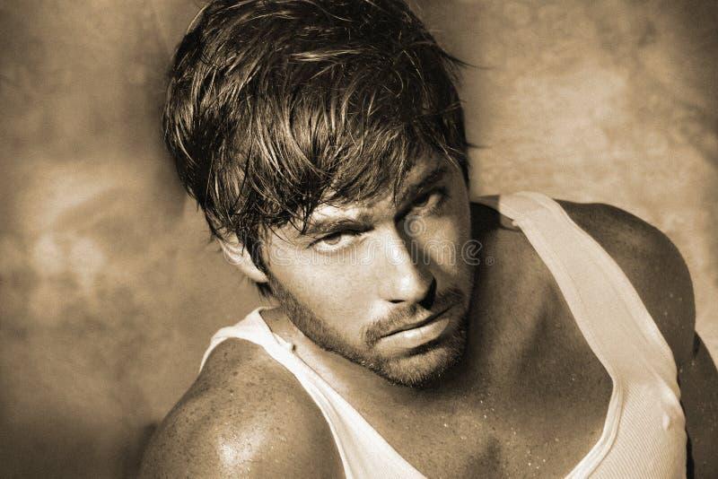 Classic male model closeup stock photography