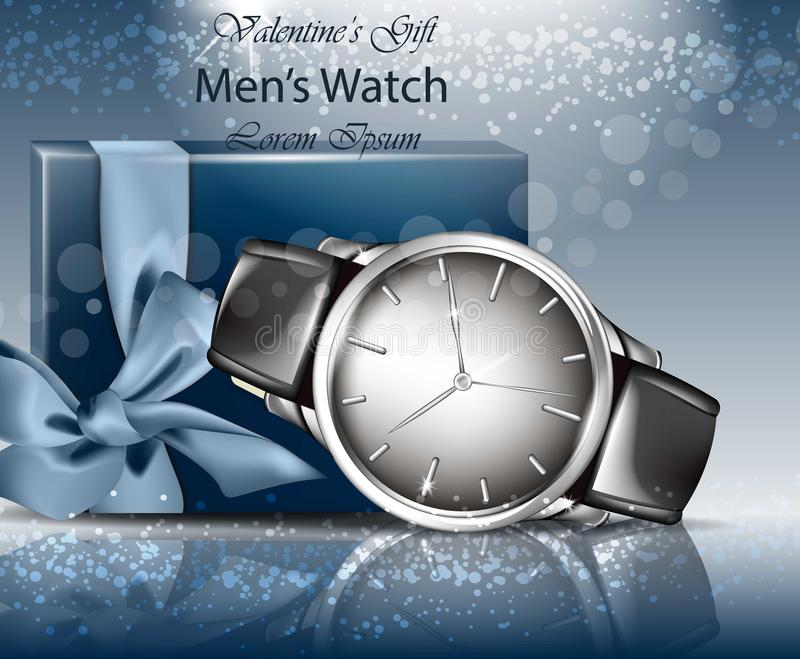 Classic Man watch and gift box realistic Vector. 3d detailed mock up. Blue backgrounds vector illustration
