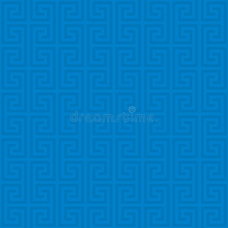 Classic meander seamless pattern. Blue Classic meander seamless pattern. Greek key neutral tileable linear vector background stock illustration