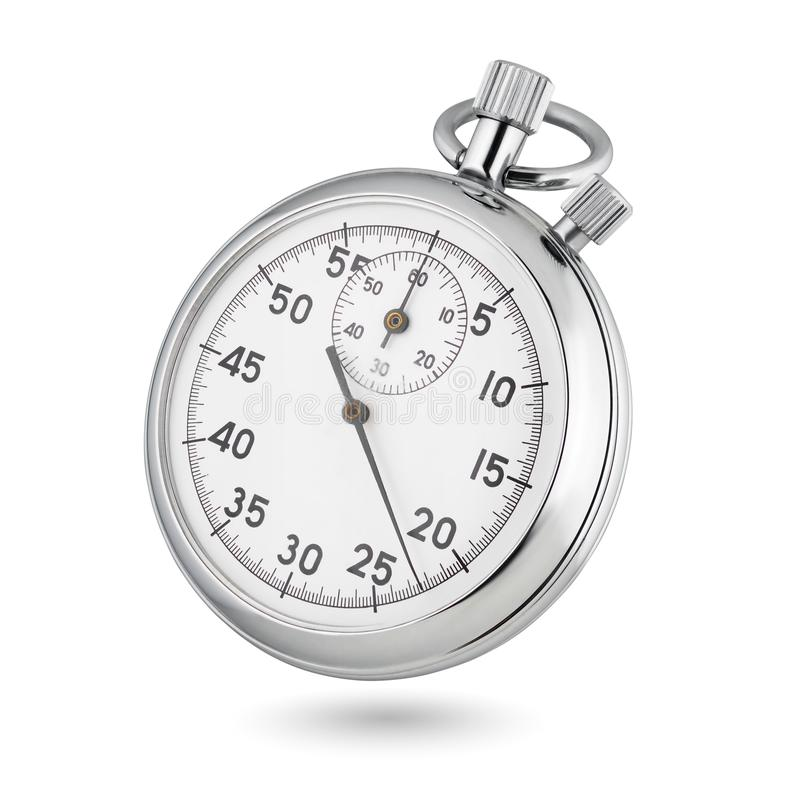 Classic mechanical analog stopwatch isolated on white royalty free stock photography