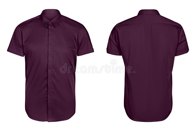 Classic mens violet shirt short sleeve isolated white background stock photos