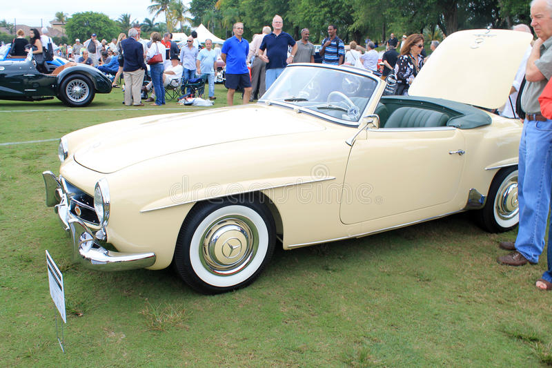 Classic merc convertible sports car. Front side view of classic Mercedes benz 190 sl convertible sports car. at car show in south florida royalty free stock photography