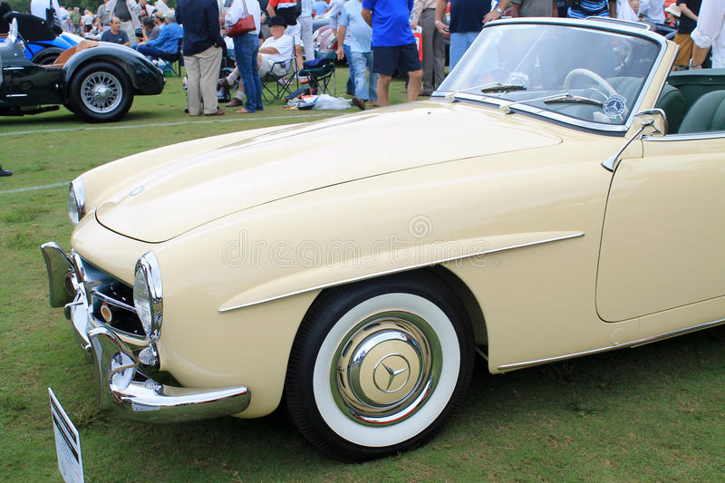 Classic merc convertible sports car. Front side view of classic Mercedes benz 190 sl convertible sports car. at car show in south florida stock image