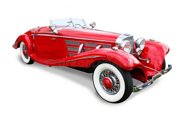Classic Mercedes-Benz Special Roadster- isolated. Classic 1936 Mercedes-Benz 540K Special Roadster- Red 3/4 front view isolated over white with clipping path royalty free stock image