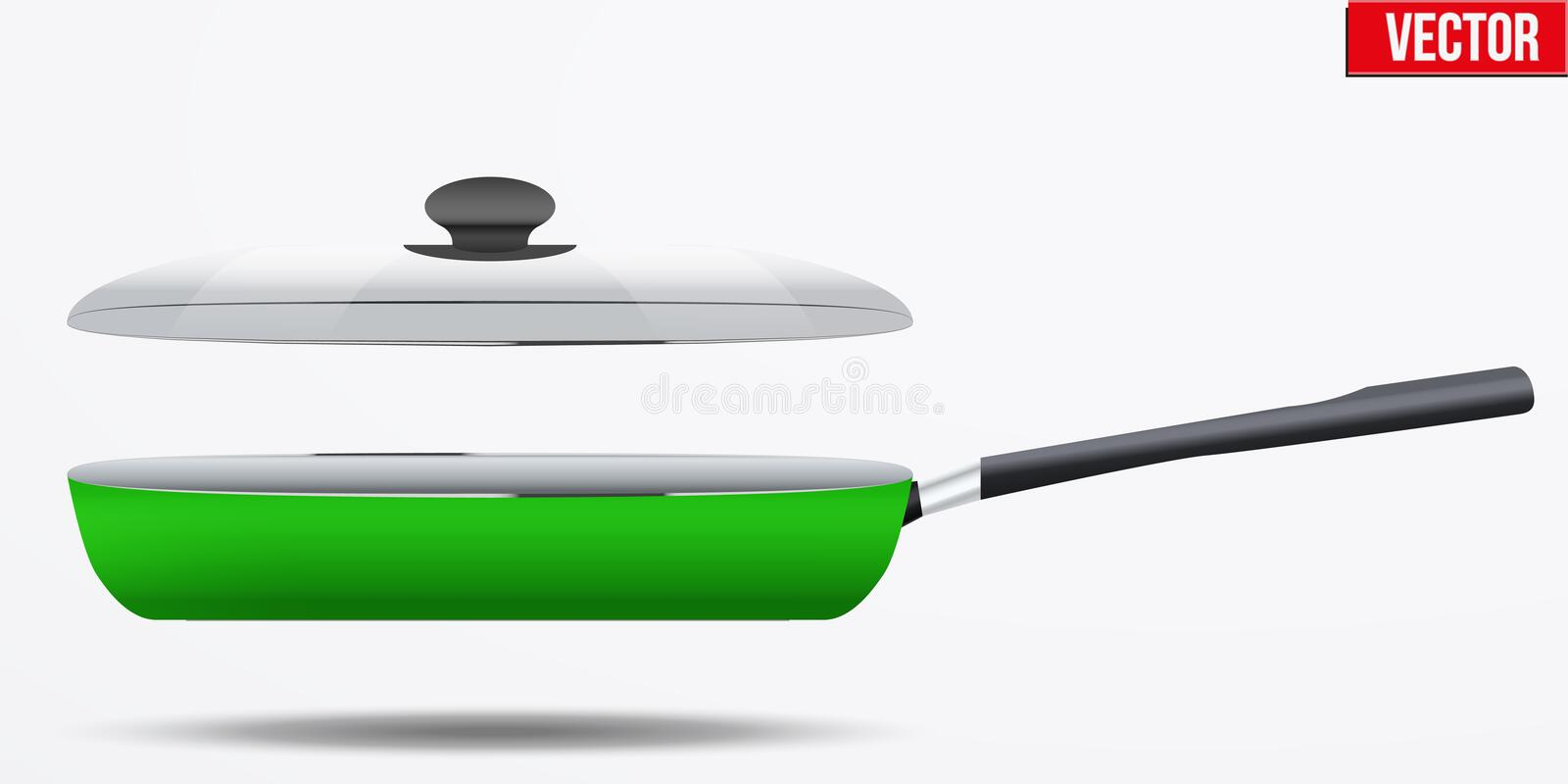Classic Metal black non-stick frying pan. Classic Metal green non-stick frying pan with glass lid and handle. Side view and round shape. Kitchen and domestic stock illustration