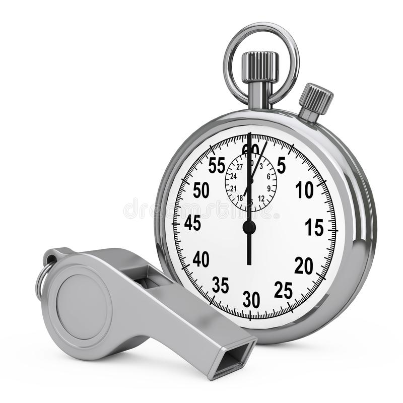Classic Metal Coaches Whistle near Chrome Stopwatch. 3d Rendering royalty free illustration
