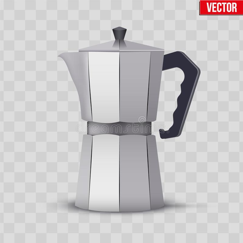 Classic Metal Coffee maker. Vintage style. Editable Vector illustration on transparent background stock illustration