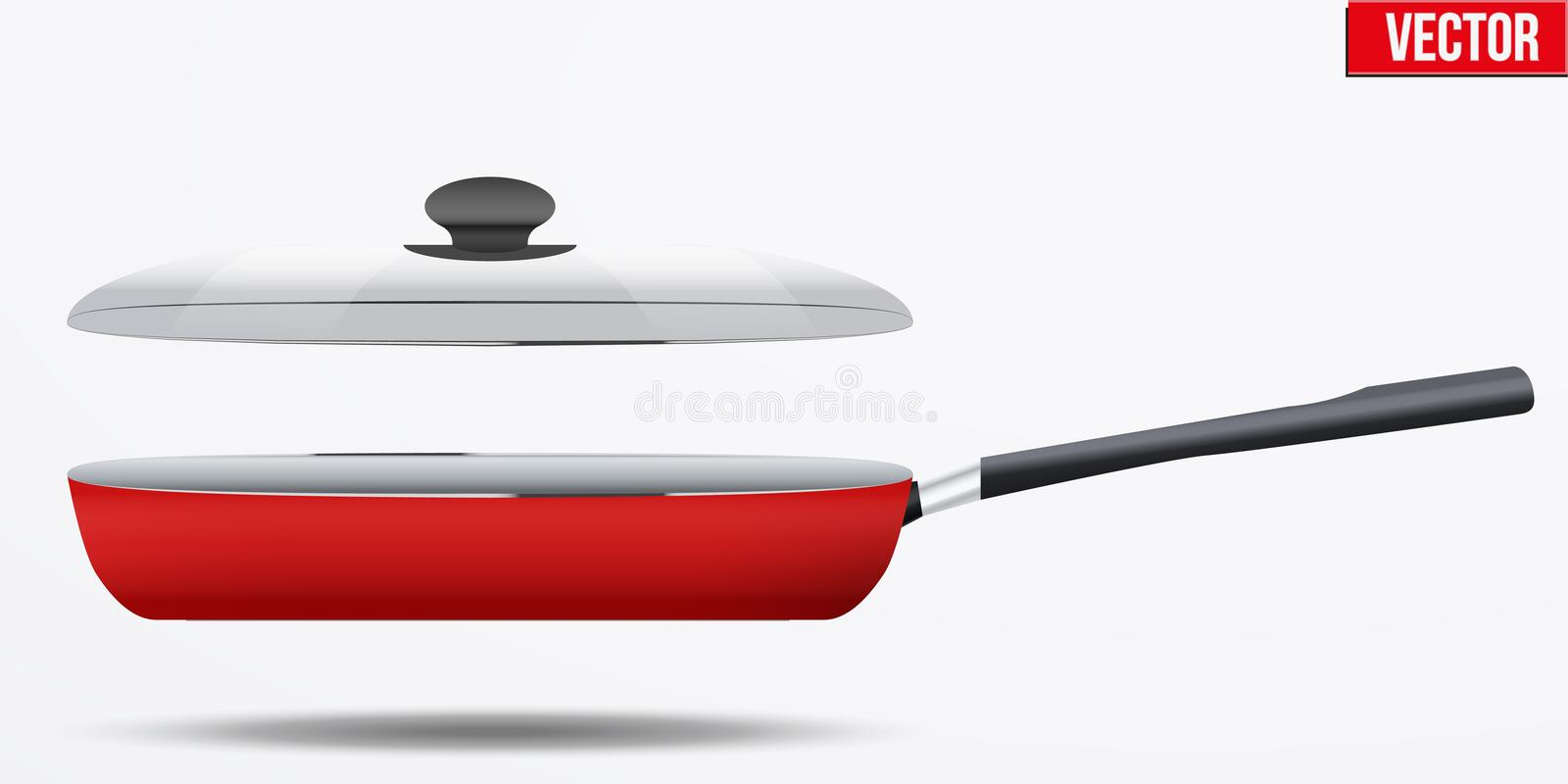 Classic Metal black non-stick frying pan. Classic Metal red non-stick frying pan with glass lid and handle. Side view and round shape. Kitchen and domestic royalty free illustration