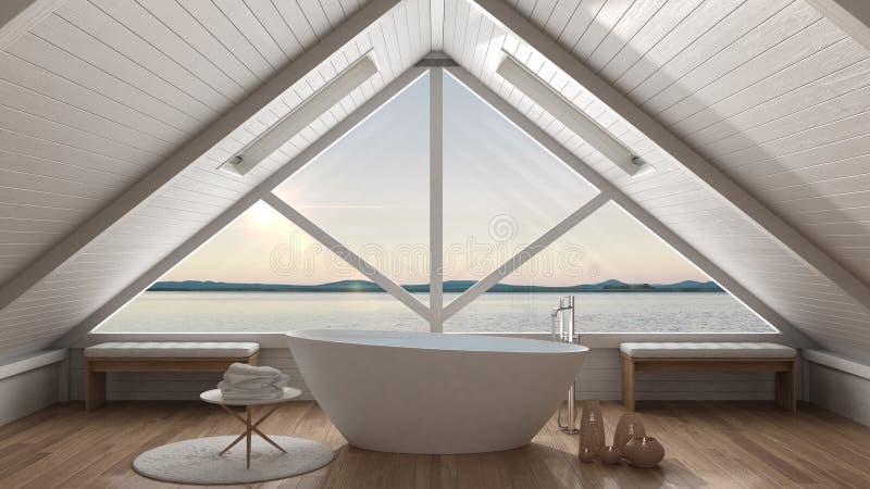 Classic mezzanine loft with big window and sea panorama, bathroom, summer sunset or sunrise, minimalist scandinavian interior stock photo