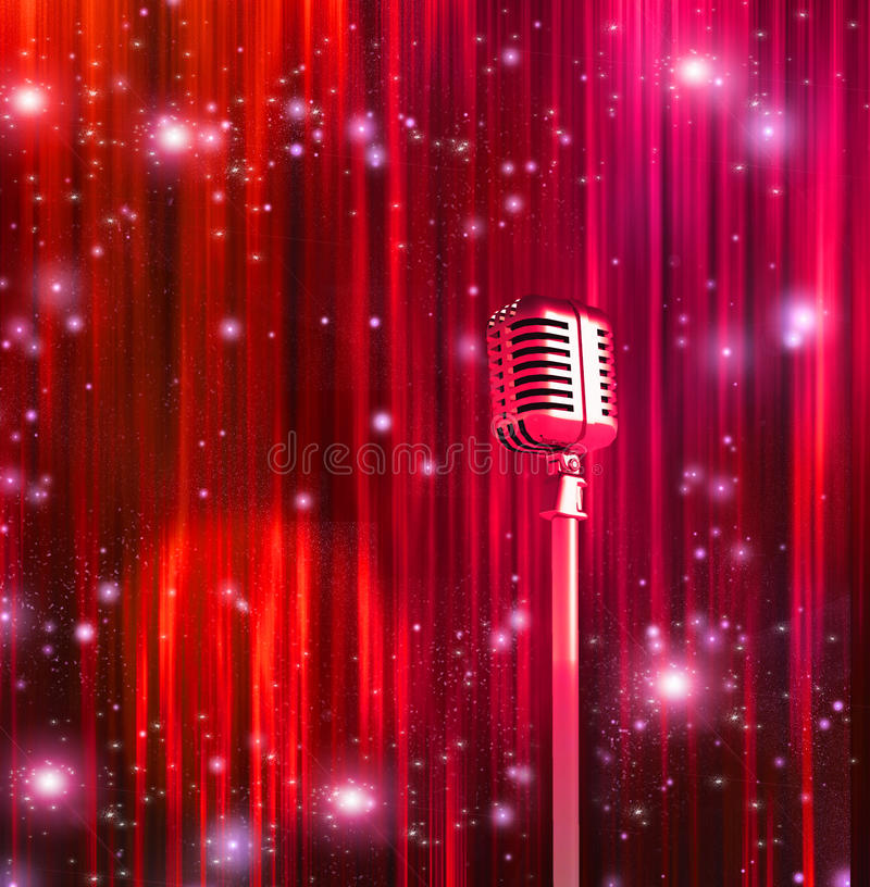 Classic Microphone. With Colorful Curtains royalty free illustration