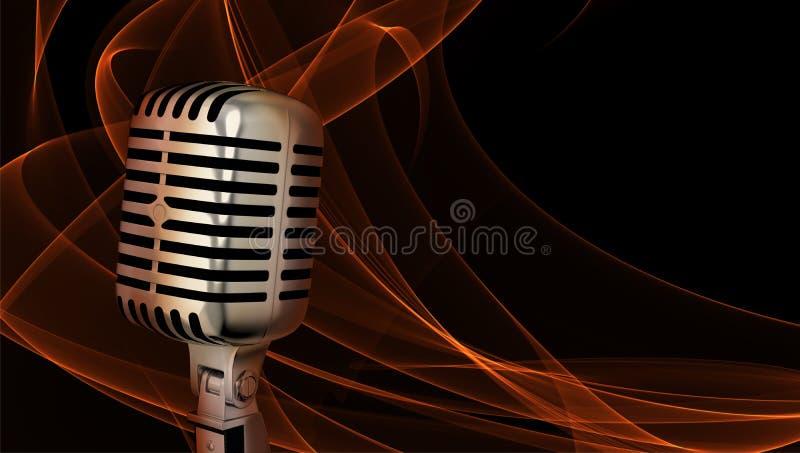 Classic microphone closeup vector illustration