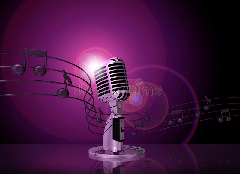 Classic microphone with pink lighting vector illustration