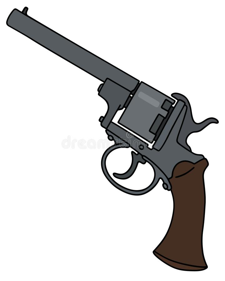 Classic military revolver. Hand drawing of a vintage revolver vector illustration