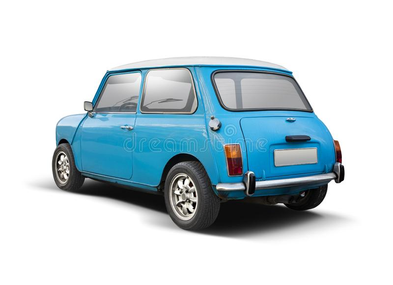 Classic Mini Cooper back view isolated on white. Classic blue Mini Cooper isolated on white stock images