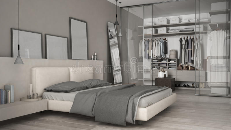 Classic minimal bedroom with walk in closet interior design